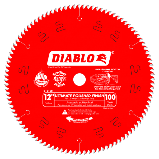 Diablo Tools D12100X 12 in. x 100 Tooth Ultimate Polished Finish Saw Blade