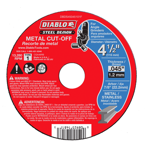 Diablo Tools DBDS45045101F Steel Demon 4-1/2 in. Type 1 Metal Cut-Off Disc