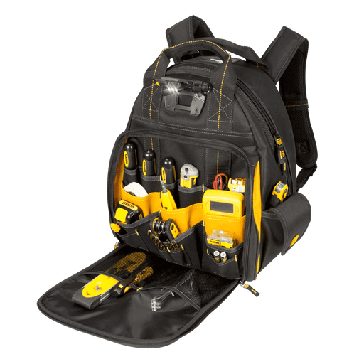 CLC DeWALT DGL523 57-Pocket Lighted Tool Backpack Bag