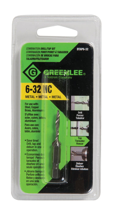 Greenlee DTAP6-32 Drill/Tap, 6-32