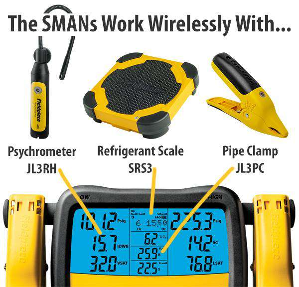 Fieldpiece SM380V - Wireless 3-Port SMAN™ Refrigerant Manifold and Micron Gauge - Edmondson Supply
