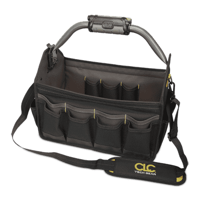 "CLC L234 TECH GEAR™ LED Lighted Handle 15"" Open Top Tool Carrier"