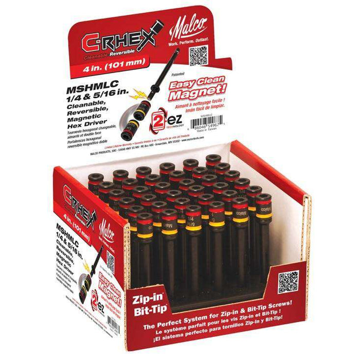 "Malco Tools MSHMLC 4-Inch C-Rhex Cleanable, Reversible Magnetic Hex Driver, 1/4"" & 5/16"" - Edmondson Supply"