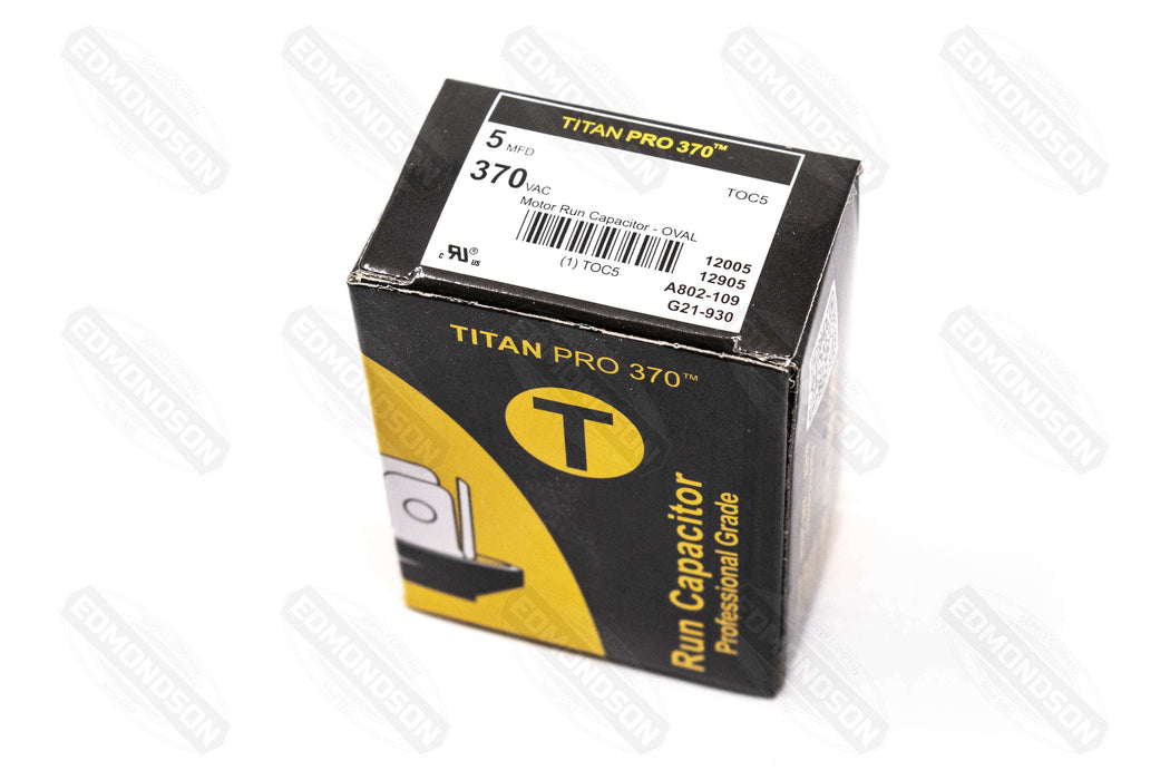 Packard Titan PRO TOC5 Motor Run Capacitor 5 MFD 370 Volt Oval - Edmondson Supply