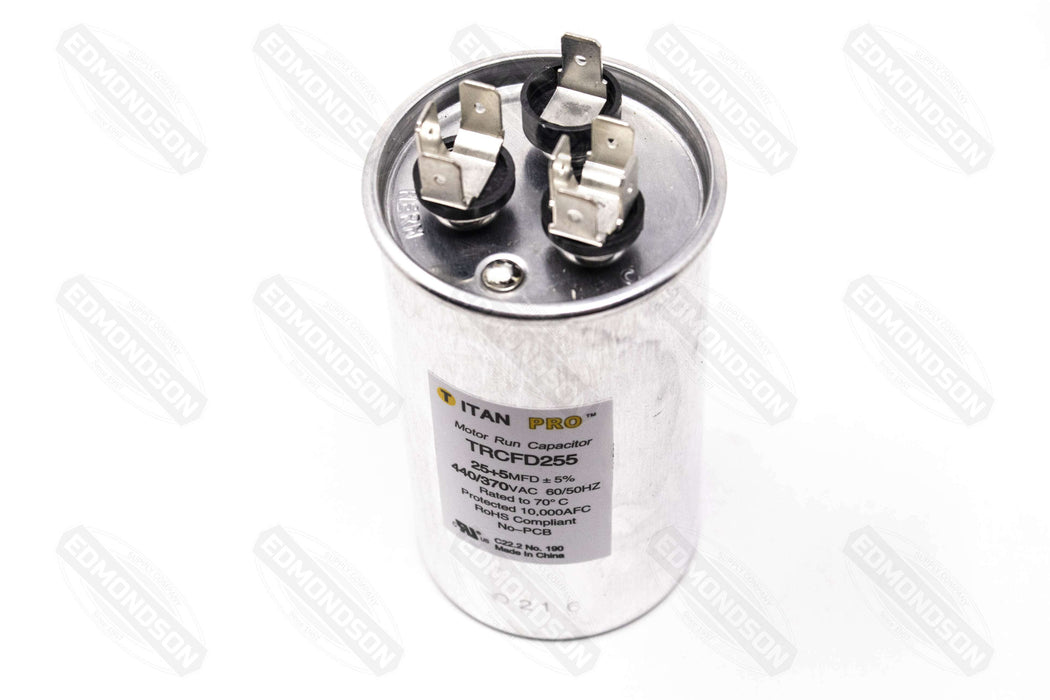 Packard TRCFD255 Titan PRO Run Capacitor 25+5 MFD 440/370 Volt Round - Edmondson Supply