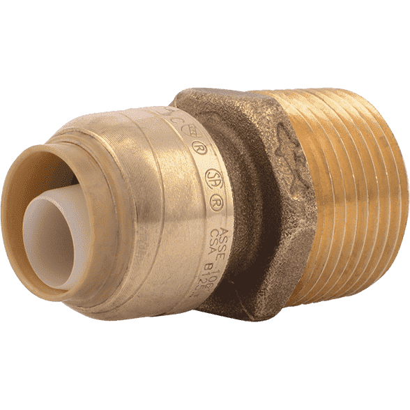 "Sharkbite U116LF 1/2"" x 3/4"" MNPT Reducing Brass Push Male Adapter - Edmondson Supply"