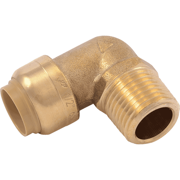 "SharkBite U280LF 1/2""  x 1/2"" MNPT Brass Push Male Adapter Elbow - Edmondson Supply"