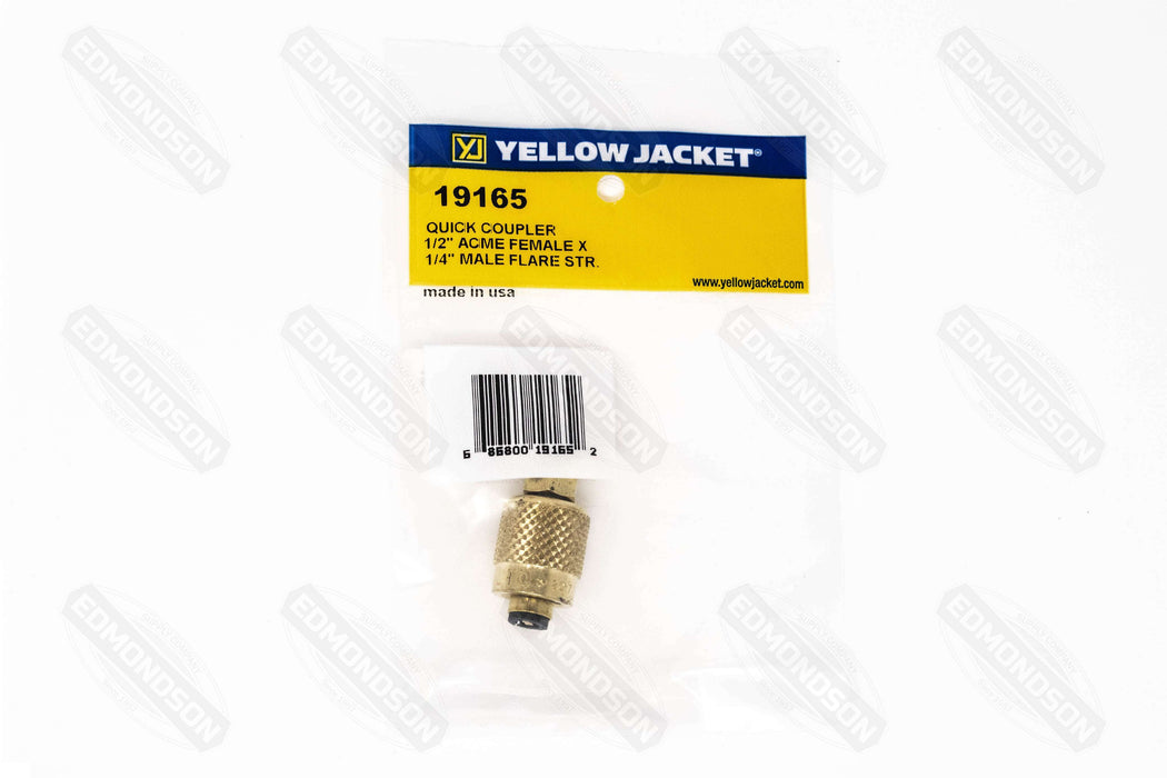 "Ritchie Yellow Jacket 19165 1/2"" Female Acme Quick Coupler X 1/4"" Male Flare - Edmondson Supply"
