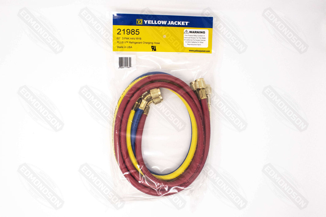 "Yellow Jacket 21985 PLUS II™ 60"" Charging Hose (RYB) 3-Pack - Standard 1/4"" - Edmondson Supply"