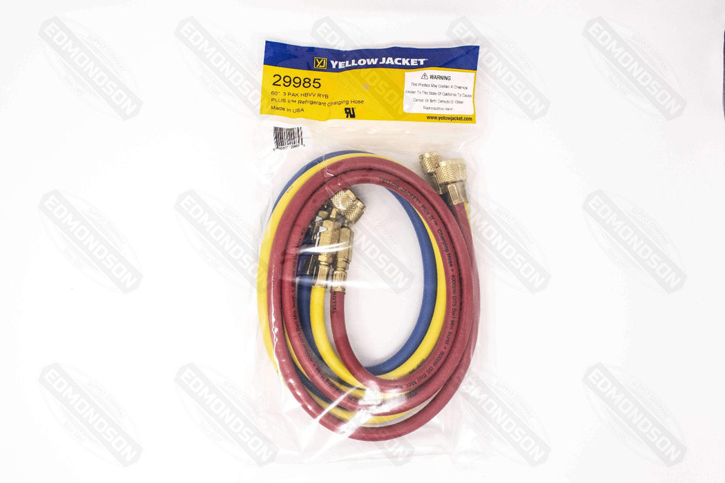 "Yellow Jacket 29985 PLUS II 60"" Charging Hose (RYB) 3-Pack w/ Ball Valve End - Edmondson Supply"
