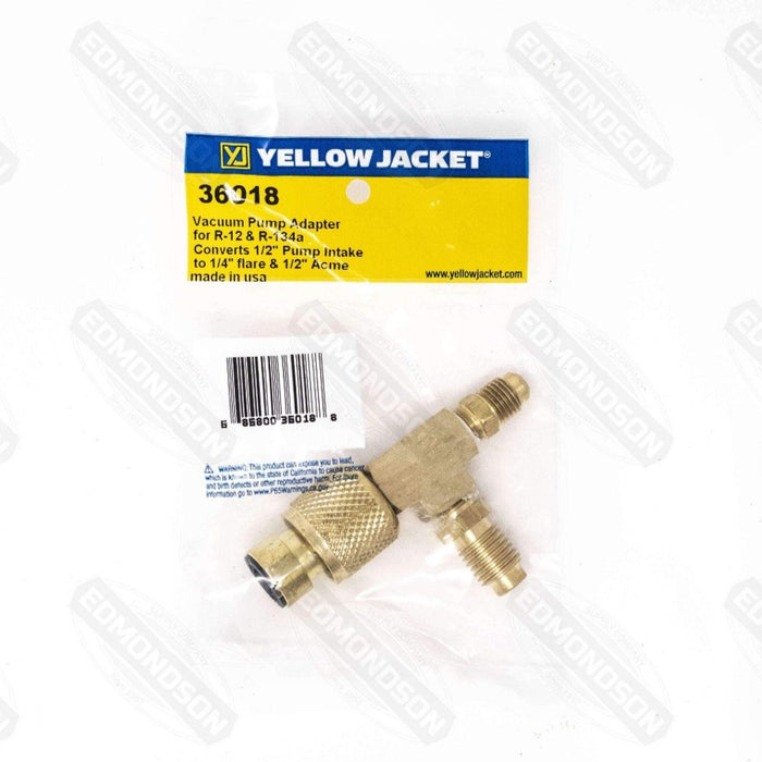 "Yellow Jacket 36018 Vacuum Pump Adapter-1/2"" Pump Adapt X 1/4"" Flare & 1/2"" Acme - Edmondson Supply"
