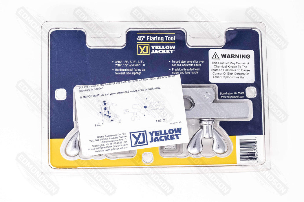 "Ritchie Yellow Jacket 60210 Heavy-Duty 45° Flaring Tool 3/16"" to 5/8"" - NEW - Edmondson Supply"