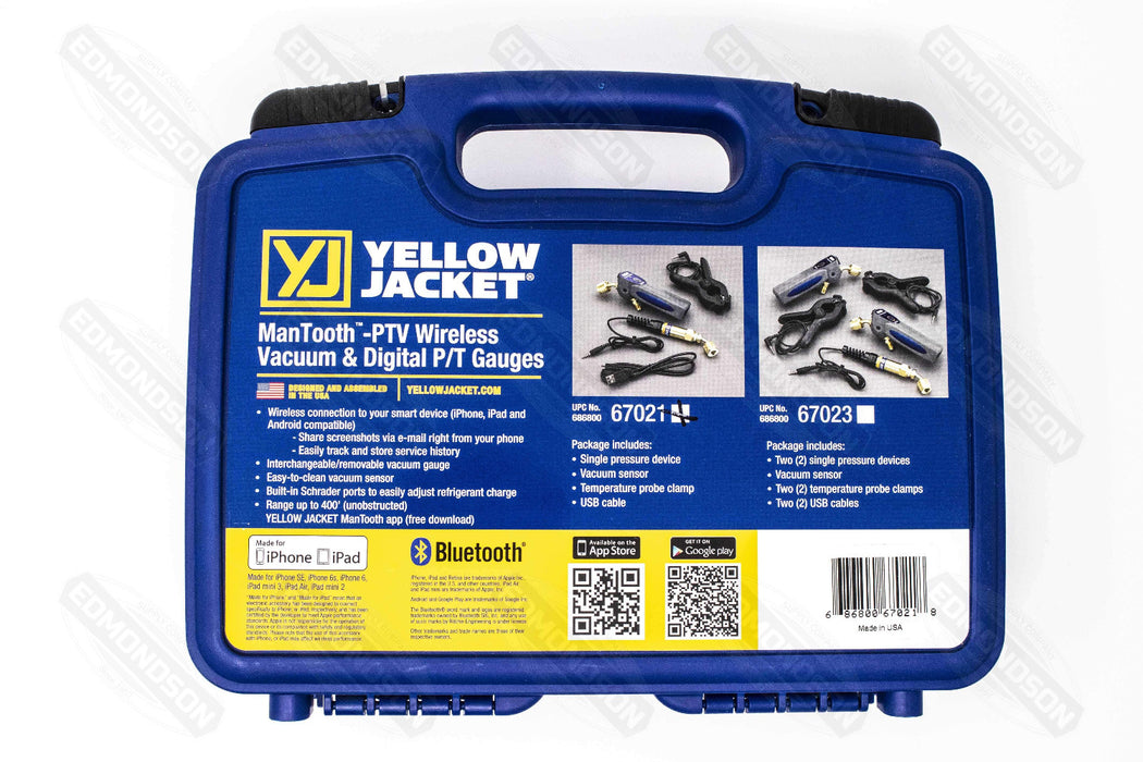 Yellow Jacket 67021 ManTooth™ - PTV Single Wireless Vacuum & Digital P/T Gauge - Edmondson Supply