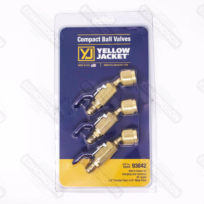 "Ritchie Yellow Jacket 93842 45° 1/4"" Compact Ball Valve Adapters (3-Pack) - Edmondson Supply"