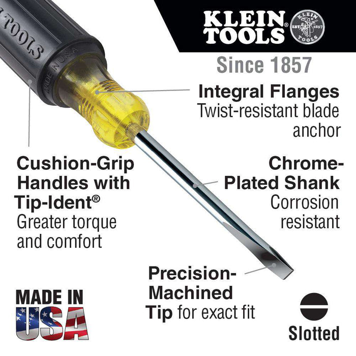 Klein Tools 605-6 1/4-Inch Cabinet Tip Screwdriver, Heavy Duty, 6-Inch - Edmondson Supply