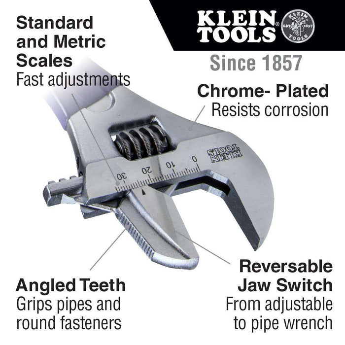 Klein Tools D86930 Reversible Jaw/Adjustable Pipe Wrench, 10-Inch - Edmondson Supply