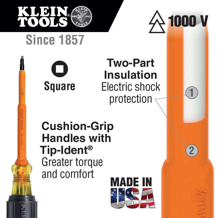 Klein Tools 662-4-INS Insulated Screwdriver, #2 Square, 4'' Shank - Edmondson Supply
