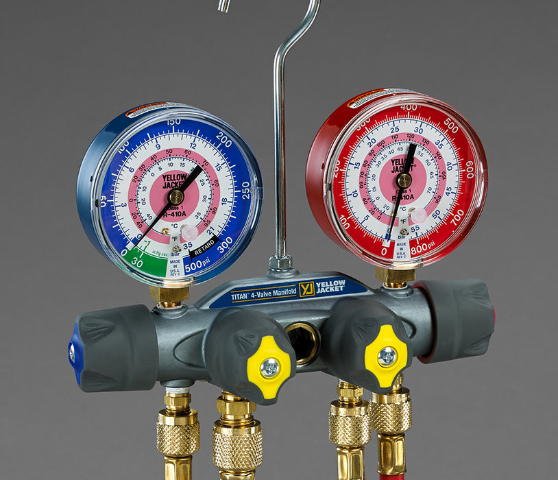 "Yellow Jacket 49967 TITAN™ 4-Valve Test & Charging Manifold with 60"" PLUS II Hoses - R-22/404A/410A"