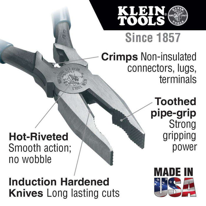 "Klein Tools J12098 8"" Journeyman High-Leverage Universal Combination Pliers - Edmondson Supply"