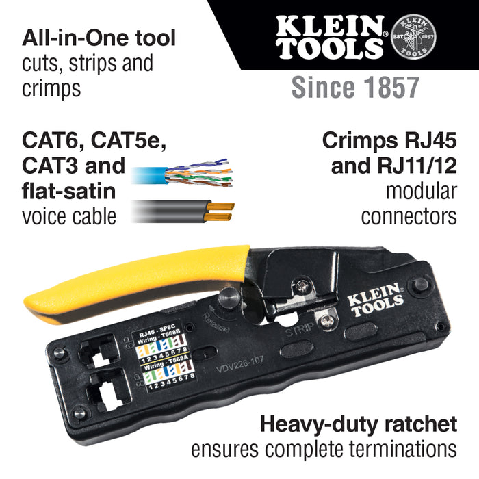 Klein Tools VDV226-107 Ratcheting Data Cable Crimper / Stripper / Cutter, Compact