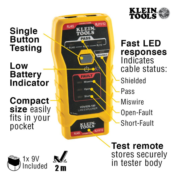 Klein Tools VDV526-100 Network Cable Tester, LAN Explorer® Data Cable Tester with Remote