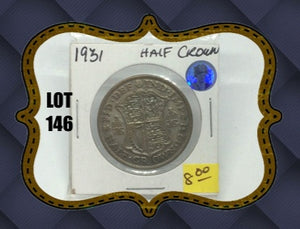 1931 Great BRITAIN Half Crown Georges V -Silver Coin - Lot-146