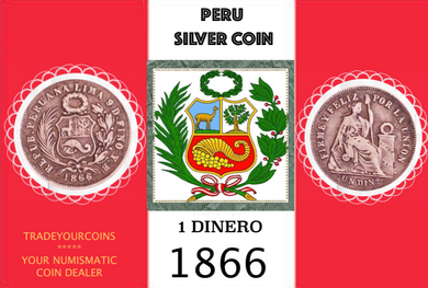 1866  Peru 1 Dinero, Silver Coin Lot:287 - Trade your coins