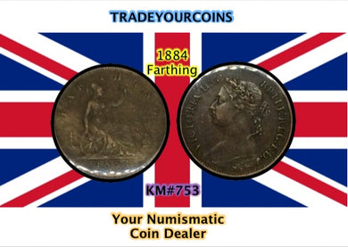 1884 Great Britain Farthing Queen Victoria-Bun Head - Trade your coins