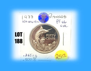 1977 Bahamas Fifty Cents-Proof 66 Silver Coin-Lot:188