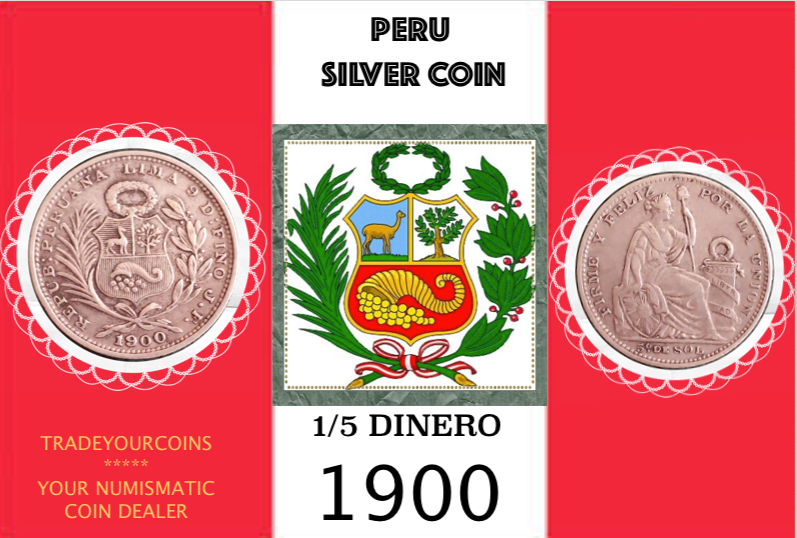 1900 Peru 1/5 Sol, Silver Coin Lot:294 - Trade your coins