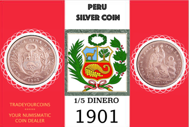 1901 Peru 1/5 Sol, Silver Coin Lot:295 - Trade your coins