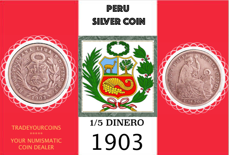 1903 Peru 1/5 Sol, Silver Coin Lot:296 - Trade your coins