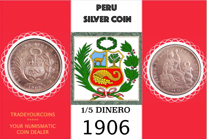 1906 Peru 1/5 Sol, Silver Coin Lot:297 - Trade your coins