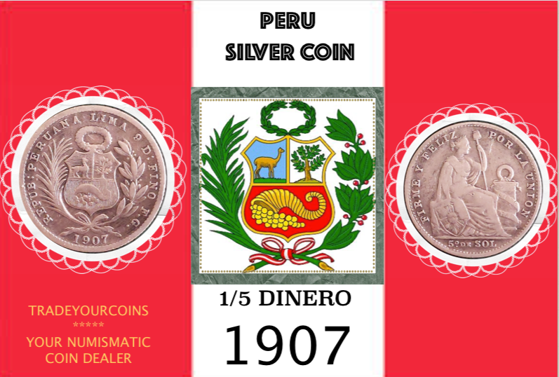 1907 Peru 1/5 Sol, Silver Coin Lot:298 - Trade your coins