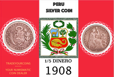 1908 Peru 1/5 Sol, Silver Coin Lot:299 - Trade your coins