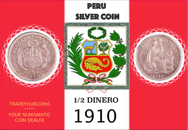 1910 Peru 1/2 Dinero, Silver Coin Lot:286 - Trade your coins