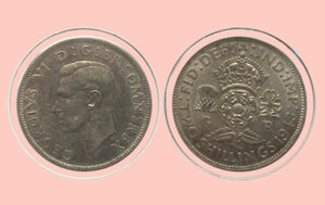 1943 Great Britain 2 Shilling Silver Coin Lot: 195