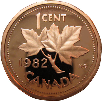 1982 Canada 1 Cent Penny Proof Heavy Cameo