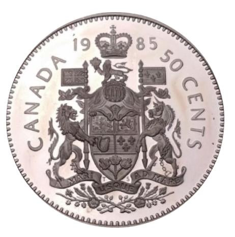 1985 Canada Fifty Cents Nickel proof Heavy cameo