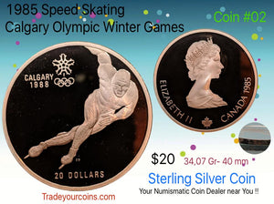 1985 Canada 20 Dollars Calgary olympic winter games-Sterling Coin # 2 Speed Skating