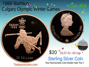 1986 Canada 20 Dollars Calgary olympic winter games-Sterling Coin # 4 Biathlon