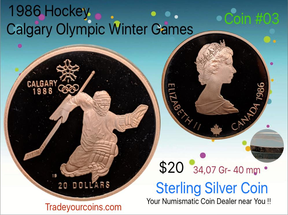 1986 Canada 20 Dollars Calgary olympic winter games-Sterling Coin # 3 Hockey