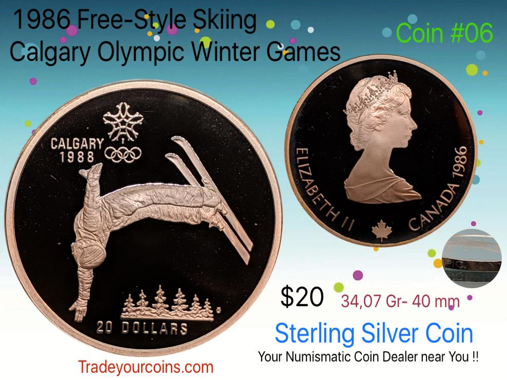 1986 Canada 20 Dollars Calgary olympic winter games-Sterling Coin # 6 Free-Style Skiing