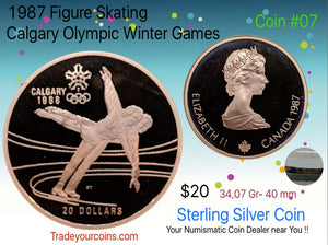 1987 Canada 20 Dollars Calgary olympic winter games-Sterling Coin # 7 Figure skating