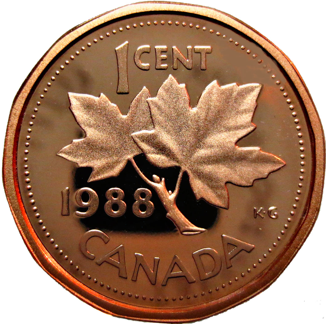 1988 Canada 1 Cent Penny Proof Heavy Cameo