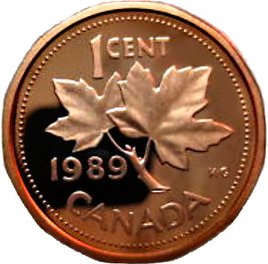 1989 Canada 1 Cent Penny Proof Heavy Cameo