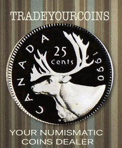 1990 Canada Nickel Quarter Proof Caribou - 25 Cents
