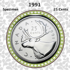 1991 Canada Nickel Quarter Specimen Caribou - 25 Cents