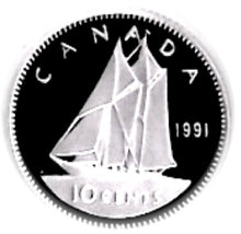 1991 Canada Ten Cents Nickel proof Heavy cameo