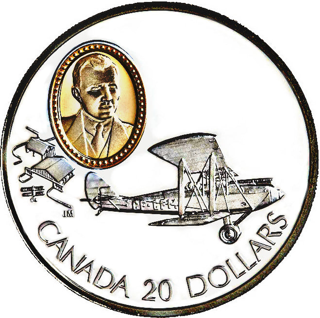 1992 Canada 20$ De Havilland Gispy Moth-Aviation commemoratives Series one, Coin # 6